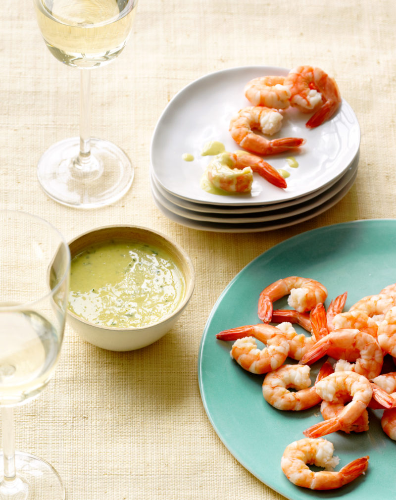 Poached Shrimp with Meyer Lemon Ginger Sauce