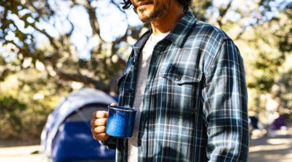Outerknown blanket shirt at camp