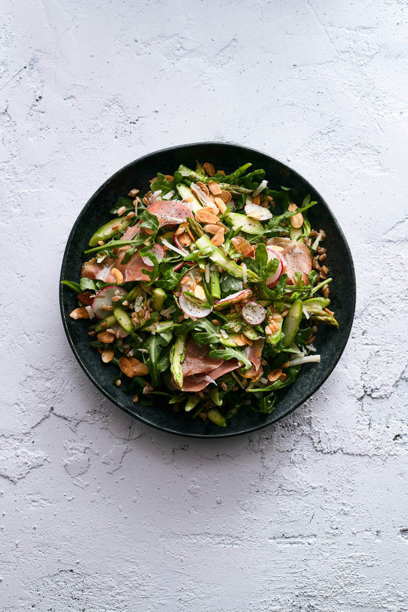 Arugula and Farro Salad with Asparagus and Prosciutto