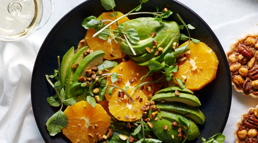 Avocado Fan Salad with Oranges and Pistachios