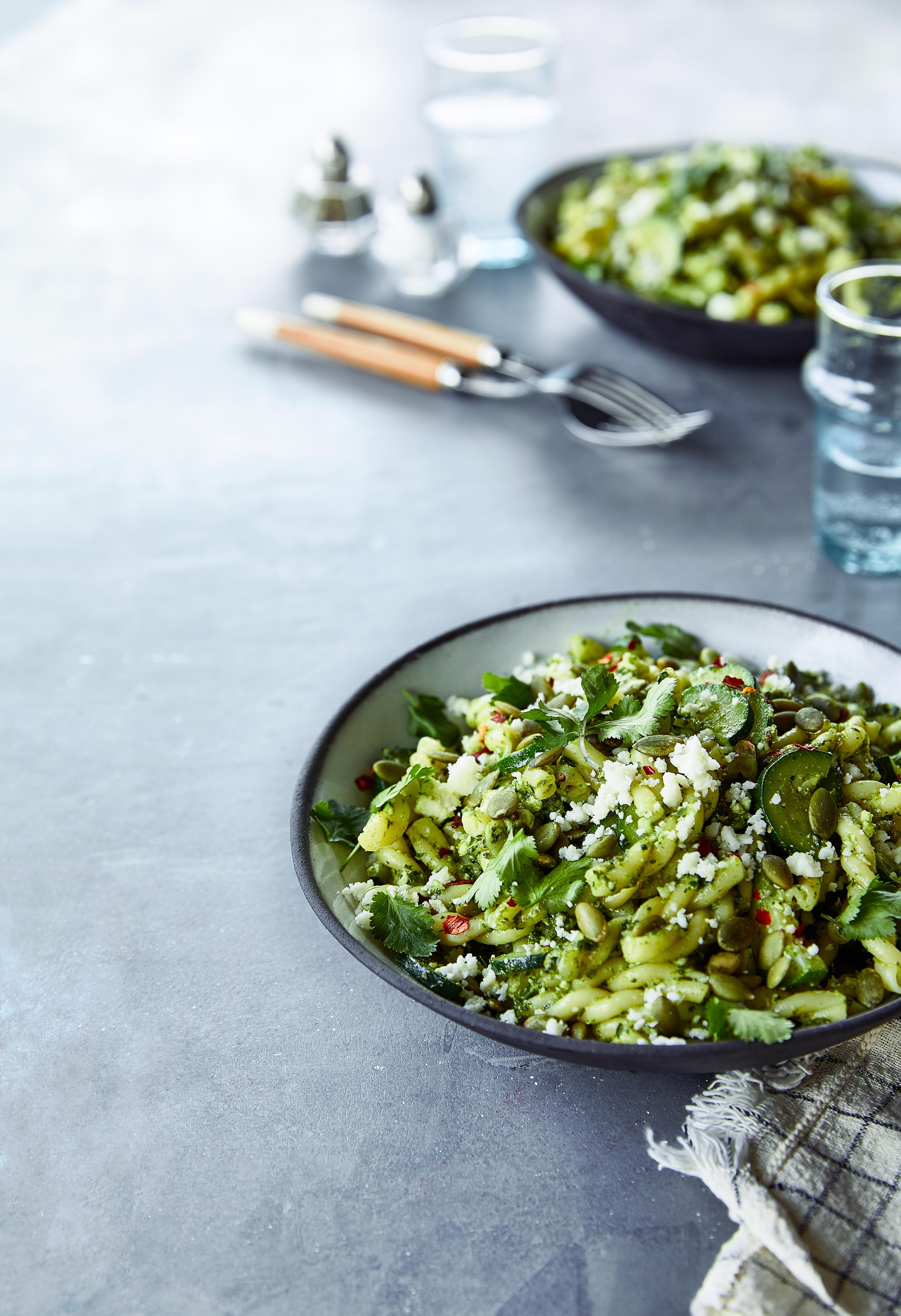 Zucchini Gemelli Cilantro Pesto