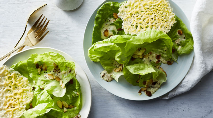 Butter Lettuce Salad with Parmesan Tuile and Almonds